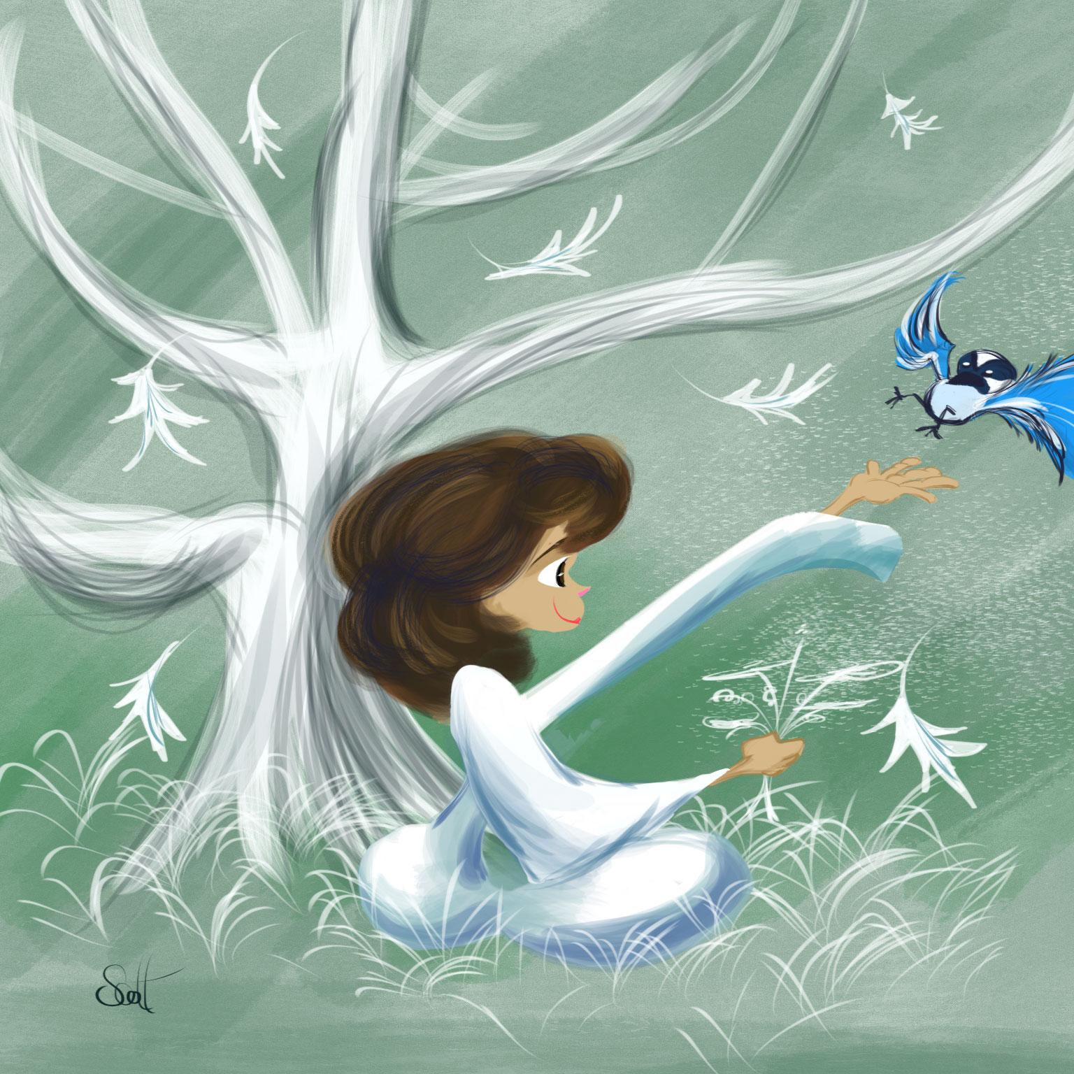 girl & bird
