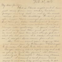 Letter February 21, 1918 from Lawrence Williamson to his parents