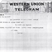 Telegram May 4, 1918 from Franklin Bell to the NYBLA