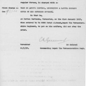 Charge Sheet, January 1, 1917