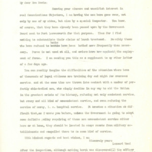 Letter October 26, 1918 from Leonard Wood to Mrs. Davis