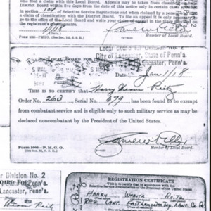 Draft registration and classification cards (3) for Harry Reitz, January 1918