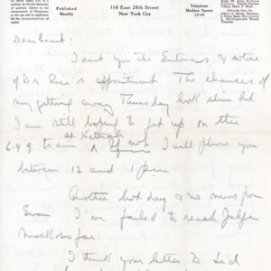 Letter Undated from Norman Thomas to Violet Thomas