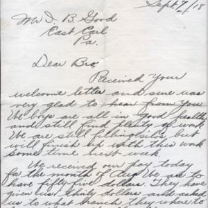 Letter September 7, 1918 to I.B. Good