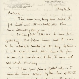 Letter May 20 from Norman Thomas to Violet [Thomas]