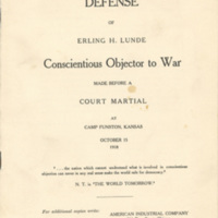 "Statement in the ""Defense of Erling H. Lunde: Conscientious Objector to War"""