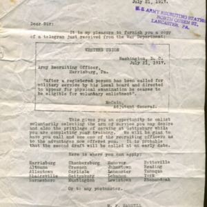 Letter July 21, 1917 from Army Recruiting Station