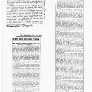 "Newsclippings ""Fenner Brockway Charged"" and ""Mr. Fenner Brockway and the Marple Tribunal"""