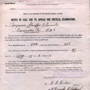 Notice of Call to Appear for Physical Examination to Benjamin Stauffer Ebersole, August 1917