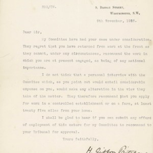 Letter November 9, 1916 from Committee on Work of National Importance