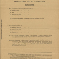Military Service Act, 1916. Application as to Exemption.
