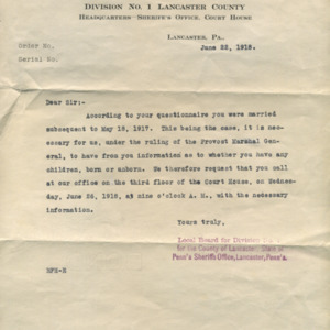 Letter June 22, 1918 from Local Exemption Board