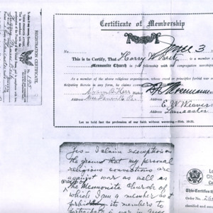 Church membership certificate for Harry Reitz, 1917, etc.