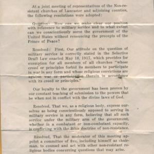 Lancaster Mennonite churches resolution