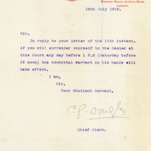 Letter from Chief Clerk, Mansion House Justice Room