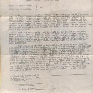 District Board Affadavit re: Martin Kraybill, September 1917