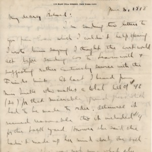 Letter June 3, 1918 to Violet Thomas from Norman Thomas