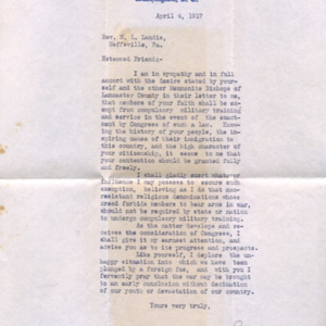 Letter April 4, 1917 from W.W. Griest to I.B. Good