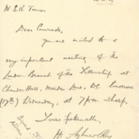 Letter from Aylmer Rose and Philip Millwood to Sydney Turner