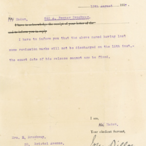 Memo / letter to Mrs. Brockway from Liverpool prison governor