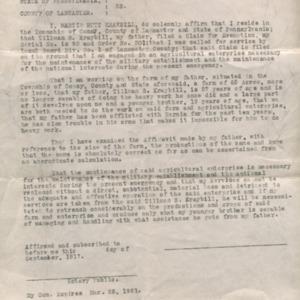 District Board Affadavit  for Martin Kraybill, September 1917