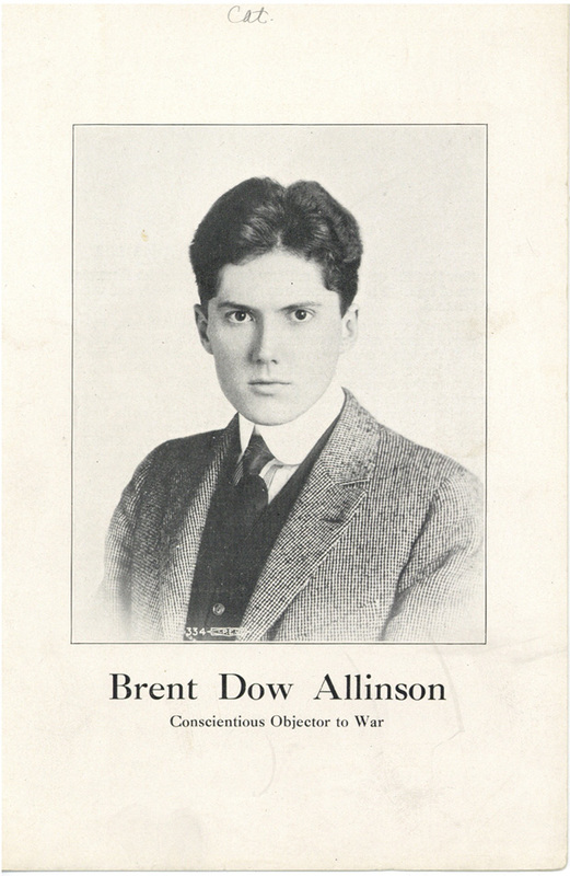 "Pamphlet ""Brent Dow Allinson: Conscientious Objector to War"""