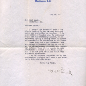 Letter May 29, 1917 from W.W. Griest to I.B. Landis
