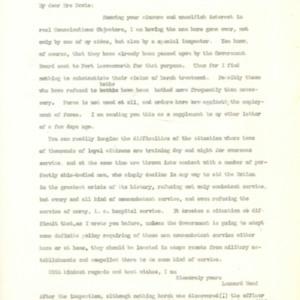 Letter October 26, 1918 from Leonard Wood to Mrs. Davis