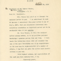 Letter October 11, 1918 from Emma Thomas to President Woodrow Wilson
