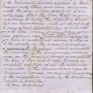 Letter November 19, 1917 from Woodrow Wilson