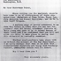 Letter May 3, 1918 from Frances Witherspoon to Newton Baker