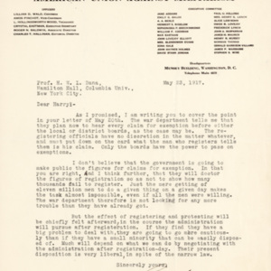 Letter May 23, 1917 from Roger Baldwin to Henry Dana