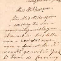 Letter June 1918 from Anna Zeidler to Frances Witherspoon