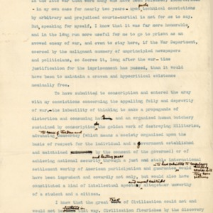 Extract of Letter November 1918 from unknown writer to the Secretary of War