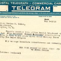 Telegram May 3, 1918 from New York Bureau to Newton Baker
