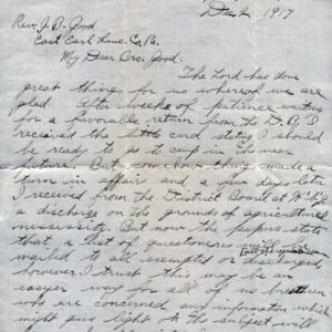 Letter December 2, 1917 from Zimmerman to I.B. Good