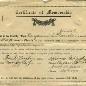 Certificate of Membership for Benjamin S. Ebersole, June 4, 1917