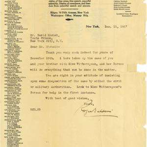 Letter December 11, 1917 from Roger Baldwin to David Eichel