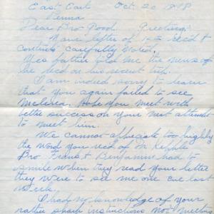 Letter October 20, 1918 to I.B. Good