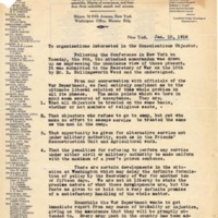 """Letter January 10, 1918 from Roger Baldwin to """"organizations interested in the Conscientious Objector"""""""