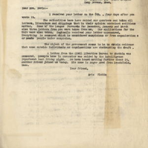 Letter April 11, 1918 from Eric Platin to Mrs. Davis