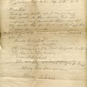 Letter September 5, 1918 to I.B. Good