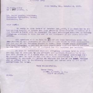 Letter October 6, 1917 to Aaron Loucks