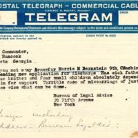 Telegram to Camp Hancock commander