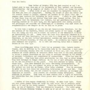 Letter October 20, 1918 from Leonard Wood to Mrs.Davis