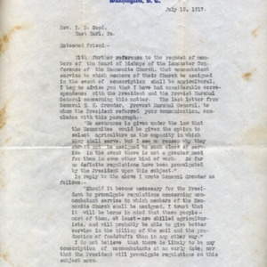 Letter July 18, 1917 from W.W. Griest to I.B. Good