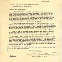 Letter May 6, 1918 from Franklin Bell to Frances Witherspoon