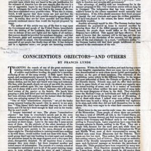 Conscientious Objectors -- And Others