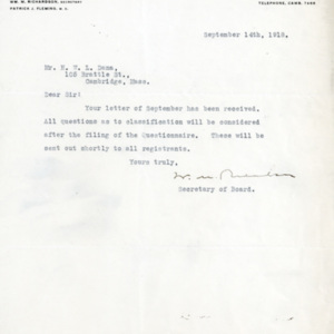 Letter September 14, 1918 from Local Board to Henry Dana