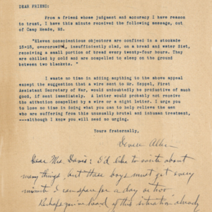 Letter undated from Devere Allen to Friend